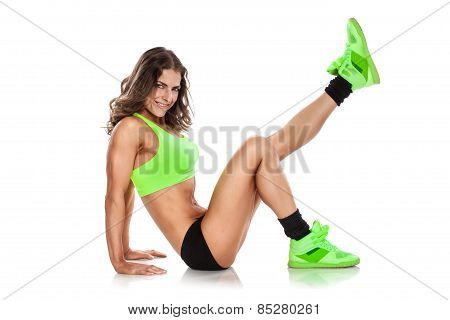 Nice Sexy Woman Doing Workout, Stretching (retouched)