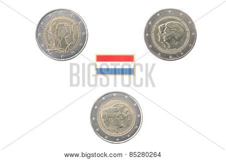 Set Of Commemorative 2 Euro Coins Of The Netherlands
