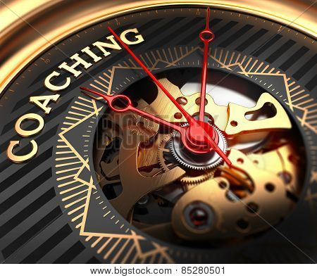 Coaching on Black-Golden Watch Face.