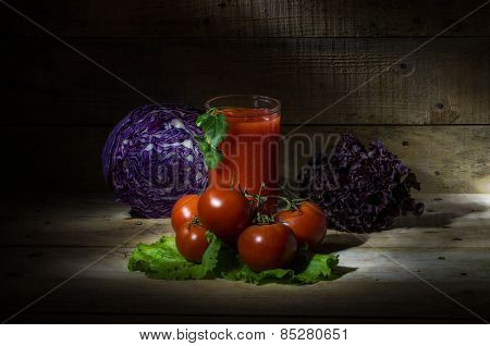 Tomato Juice With Tomatoes And Vegetables