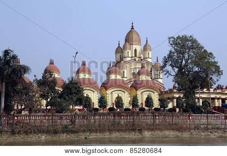 KOLKATA, INDIA - FEB 14: Dakshineswar Kali Temple on February 14, 2014. The beautiful temple was built in Bengal architecture style in 1855