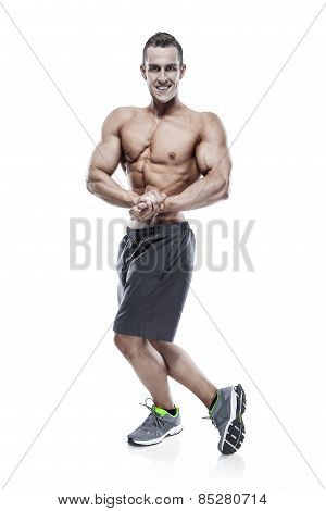 Strong Athletic Man Fitness Model Torso Showing Muscles