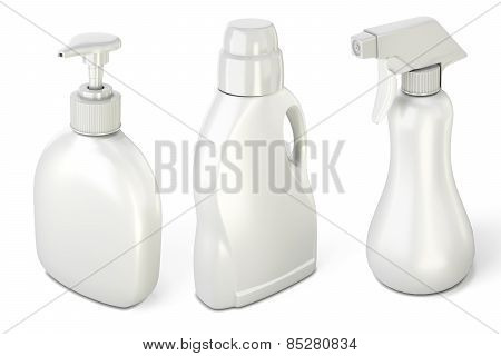 Set Of Bottles With Detergents