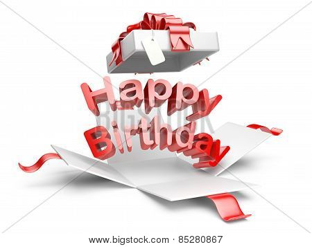 Open Gift Box With Red Bow And Ribbon. Happy Birthday Message.