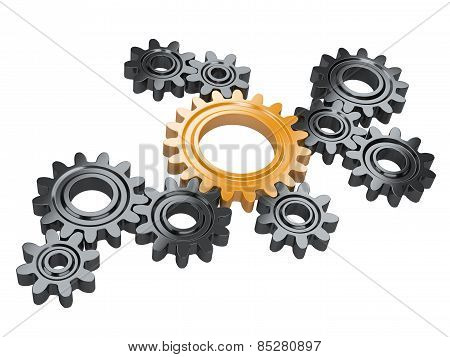 Black Gears And One Orange. Teamwork And Leadership Concept.
