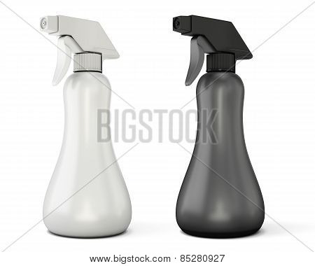 Template White And Black Spray Bottle Mockup For Your Design