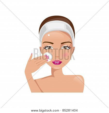 Woman Cooks Cleans The Face. Vector Illustration