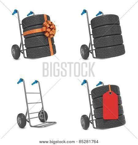 Sales Tires Concepts - Set of 3D Illustrations.