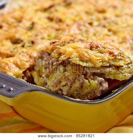 Potato gratin with meat