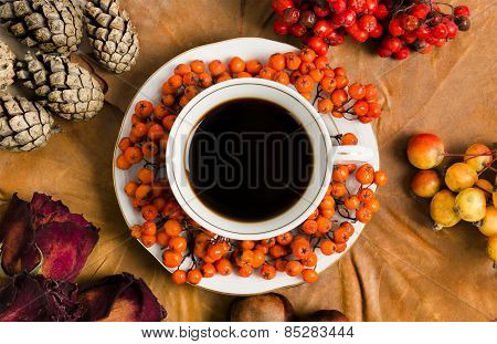 Hot Coffee cup with organic decorations