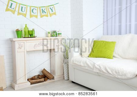 Interior with decorative elements for St Patrick Day