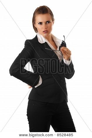 thoughtful modern business woman with glasses isolated on white