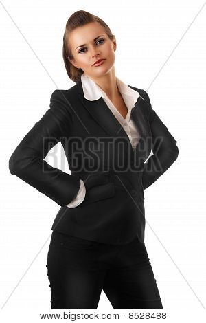 angry modern business woman with hands on hips isolated on white