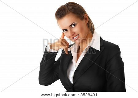 smiling modern business woman showing phone me gesture isolated on white