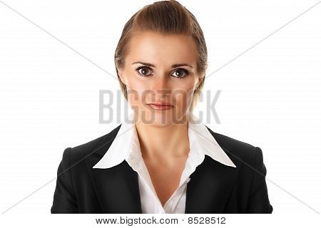 frustrated modern business woman isolated on white