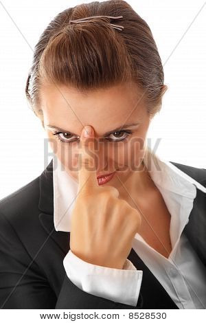 modern business woman pointing finger at forehead isolated on white