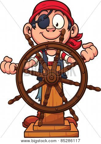 Pirate boy at the rudder. Vector clip art illustration with simple gradients. All in a single layer.
