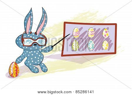 Rabbit Teacher With Colorful Easter Eggs