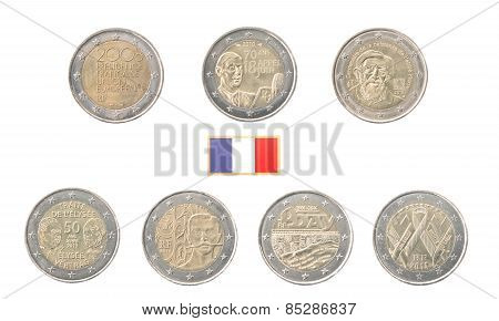 Set Of Commemorative 2 Euro Coins Of France