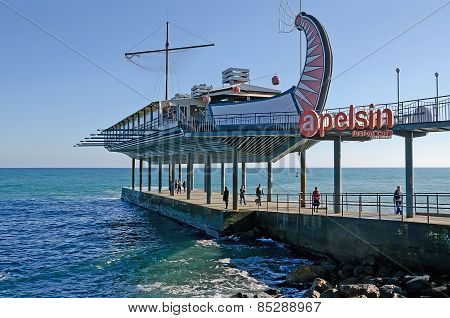 Restaurant On The Seafront Of Yalta Stylized Greek Ship Argo