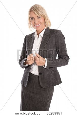 Successful smiling isolated middle aged woman in an elegant costume.
