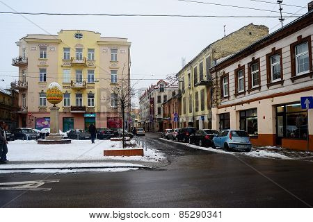 Vilnius City White Winter Morning Time View