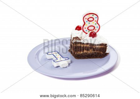 Birthday Cake With Two Candles And Piece Of Cake