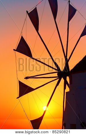 Windmill In Oia At Sunset, Santorini