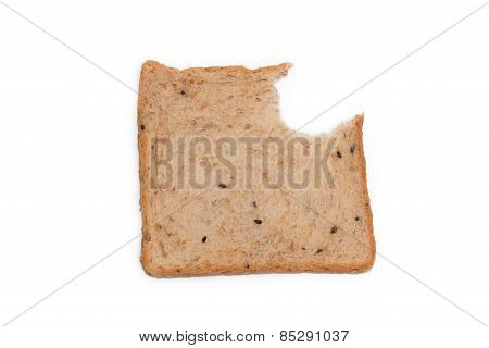 Slice Whole Wheat Bread Had Bite Marks Isolated On White Background