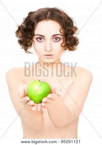 Girl Holding An Apple (focus On Girl)