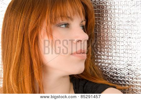Portrait Of Beautiful Ginger-haired Woman With Full Sensuous Lips