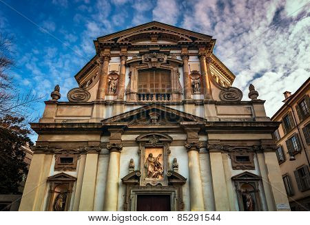 Ornate Facade Of Saint Giuseppe Church In Milan, Italy