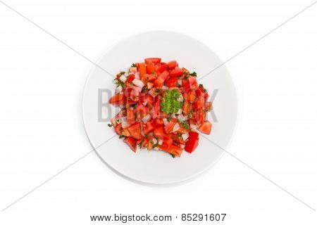 Fresh Tomato Salsa Salad Put In White Dish
