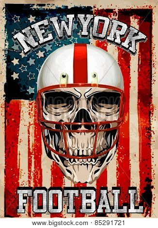 American Football Skull Vintage Vector Print For Boy Sportswear In Custom Colors