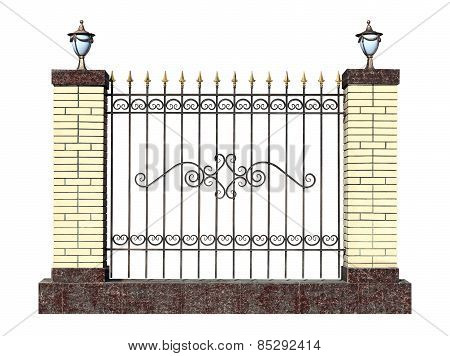 Decorative Forged Fence With Pillar.