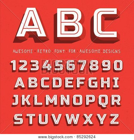 Vector Retro 3D Font with shadow