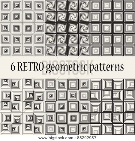 6 Retro Geometric Seamless Patterns