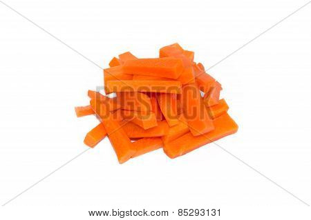 Fresh Carrots Vegetable Sticks Isolated On White