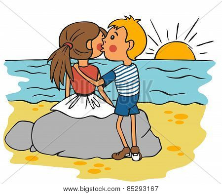 Boy Kissing Girl On Cheek At Sunset
