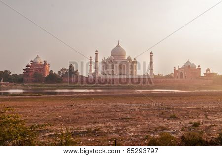 Mehtab Bagh. View Of Taj Mahal In The Evening