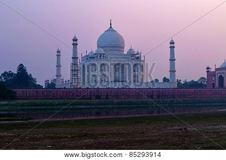 View Of Taj Mahal From Mehtab Bagh At Sunset