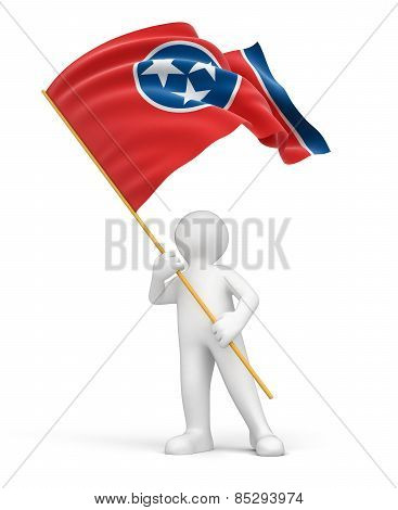 Man and flag of Tennessee (clipping path included)