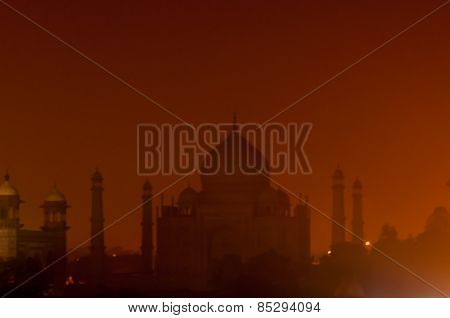View Of Taj Mahal At Night