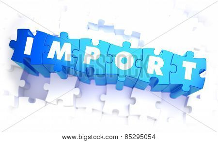 Import - Word in Blue Color on Volume  Puzzle.