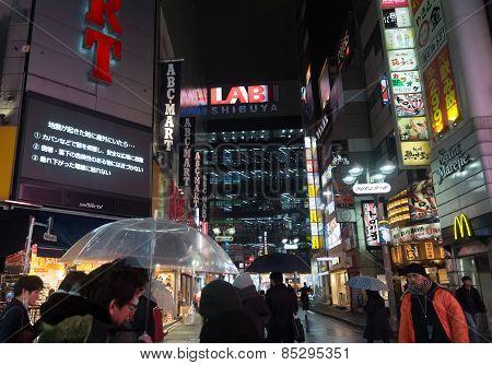 Night Lifestyle In Shibuya In Tokyo, Japan