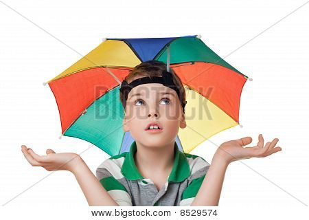 Boy With Multi-coloured Umbrella On Head Spread His Hands Aside  Isolated On White Background
