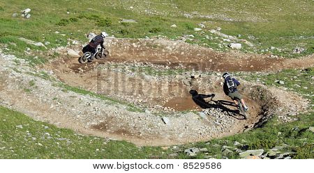 Vtt Bikers In The Mountain