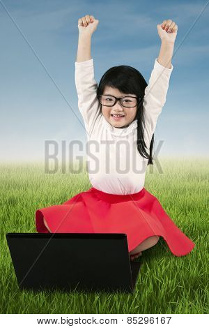 Little Girl Celebrate Her Achievement At Field