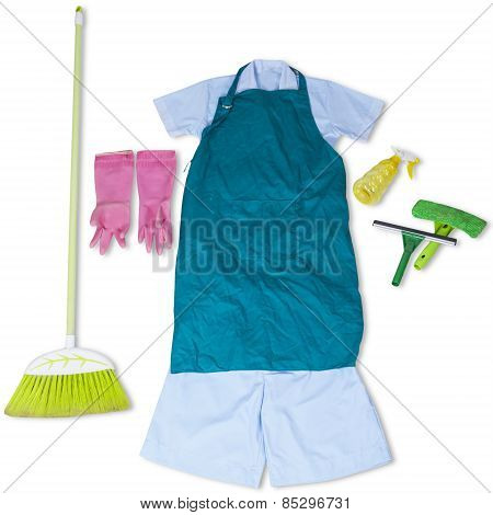 Maid Clothes And Cleaner Tools