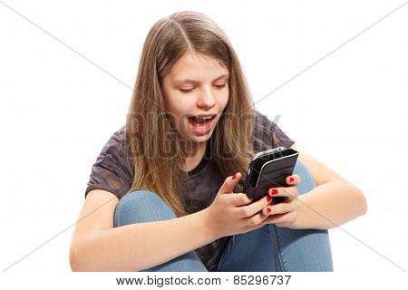 Surprised Girl On Phone